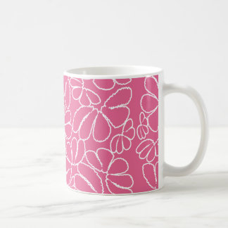 Hot Pink Whimsical Ikat Floral Doodle Pattern Coffee Mugs
