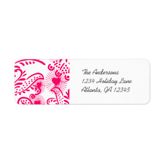 Hot Pink Whimsical Love Birds Return Address Return Address Label