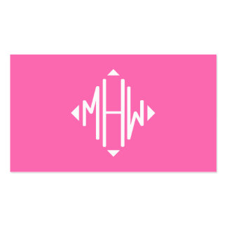 Hot Pink White 3 Initials Diamond Shape Monogram Pack Of Standard Business Cards