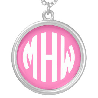 Hot Pink White 3 Initials in a Circle Monogram Necklace