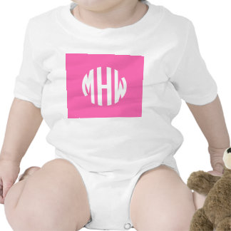 Hot Pink White 3 Initials in a Circle Monogram Baby Creeper