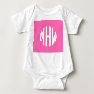 Hot Pink White 3 Initials in a Circle Monogram T-shirts