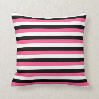 Hot Pink, White and Black Stripes Cushion