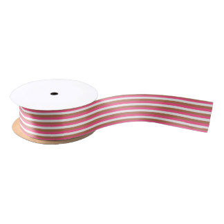 Hot Pink, White and Brown Stripes Satin Ribbon