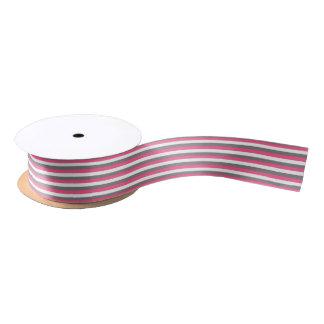 Hot Pink, White and Charcoal Gray Stripes Satin Ribbon
