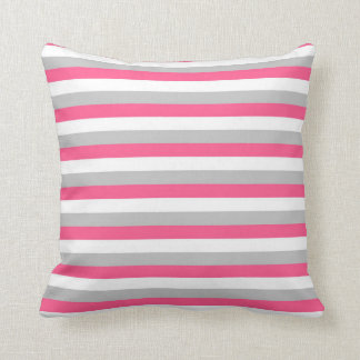 Hot Pink, White and Grey Stripes Cushion