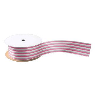 Hot Pink, White and Grey Stripes Satin Ribbon