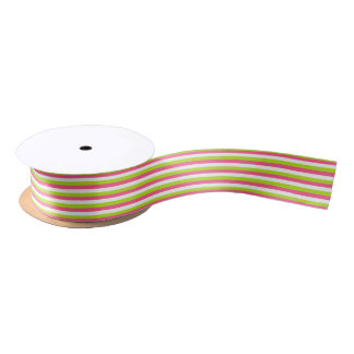 Hot Pink, White and Lime Green Stripes Satin Ribbon