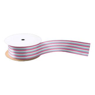 Hot Pink, White and Pastel Blue Stripes Satin Ribbon