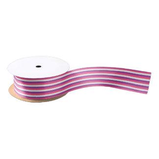 Hot Pink, White and Purple Stripes Satin Ribbon