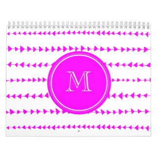 Hot Pink White Aztec Arrows Monogram Calendar