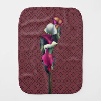 Hot Pink & White Calla Lily Bouquet Burp Cloth