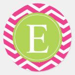 Hot Pink White Chevron Green Monogram Round Sticker