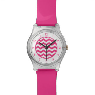 Hot Pink White Chevron Wristwatch