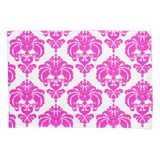 Hot Pink & White Elegant Chic Damask Pattern Pillowcase