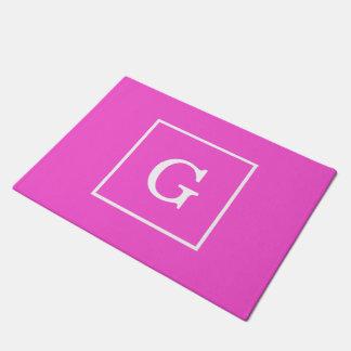 Hot Pink White Framed Initial Monogram Doormat
