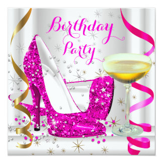 Hot Pink White Gold Glitter High Heels Champagne 4 5.25x5.25 Square Paper Invitation Card