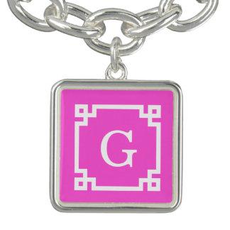 Hot Pink White Greek Key Frame #2 Initial Monogram