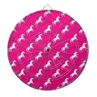 Hot Pink, White Horse, Equestrian, Chevron Dart Boards