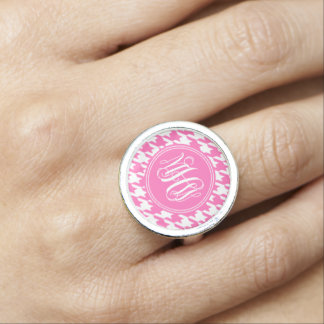 Hot Pink White Houndstooth Hot Pink Vine Monogram Photo Ring