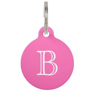 Hot Pink White Monogram Initial Name Simple Pet Name Tag