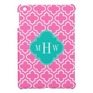 Hot Pink White Moroccan #6 Teal 3 Initial Monogram iPad Mini Cover