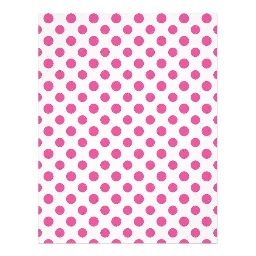 Hot Pink White Polka Dots Pattern Flyers