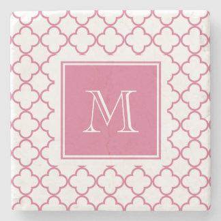 Hot Pink White Quatrefoil | Your Monogram Stone Coaster