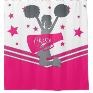Hot Pink White Silver Stars Cheer Cheer-leading Shower Curtain