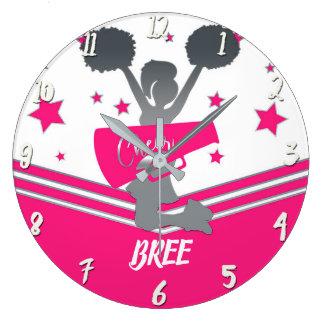 Hot Pink & White Stars Cheer Cheer-leading Girls Large Clock