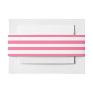 Hot Pink & white striped Invitation Belly Band