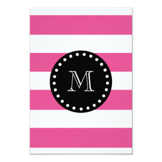 Hot Pink White Stripes Pattern, Black Monogram Card