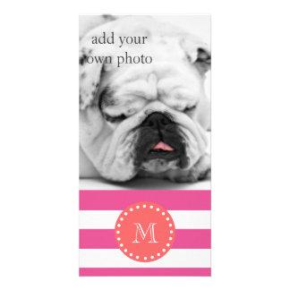 Hot Pink White Stripes Pattern, Coral Monogram Customized Photo Card