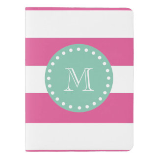 Hot Pink White Stripes Pattern, Mint Green Monogra Extra Large Moleskine Notebook