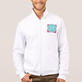 Hot Pink White Stripes Pattern, Teal Monogram Jacket