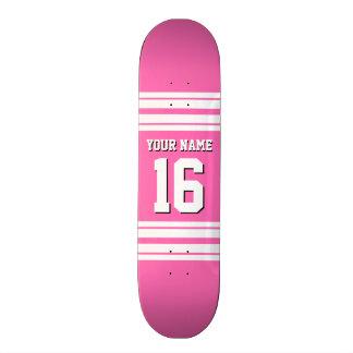 Hot Pink White Team Jersey Custom Number Name Custom Skateboard