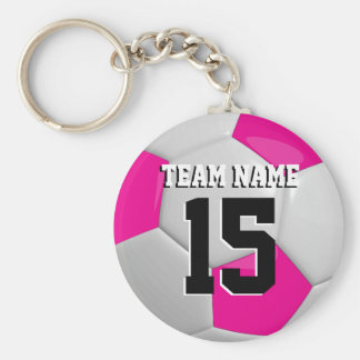 Hot Pink & White Team Soccer Ball Basic Round Button Key Ring
