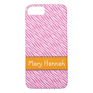 Hot Pink & White Waves Orange Band, Personalized iPhone 8/7 Case