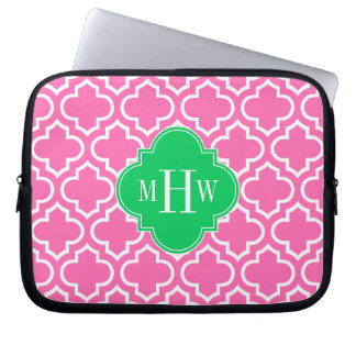 Hot Pink Wht Moroccan #6 Emerald Green 3I Monogram Laptop Sleeve