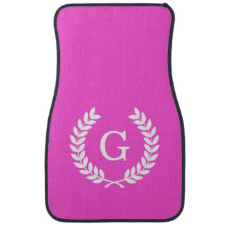 Hot Pink Wht Wheat Laurel Wreath Initial Monogram Car Mat