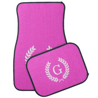 Hot Pink Wht Wheat Laurel Wreath Initial Monogram Floor Mat