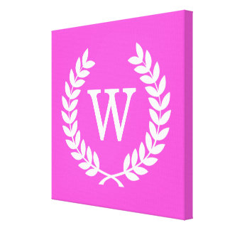 Hot Pink Wht Wheat Laurel Wreath Initial Monogram Stretched Canvas Print