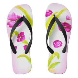 Hot Pink Wild Flower Shower Shoes FlipFlops