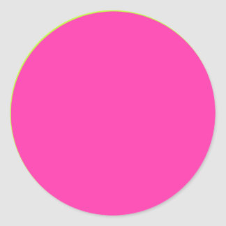 Hot Pink with Lime Green Border Round Sticker