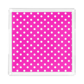 Hot Pink with White  Polka Dots Acrylic Tray