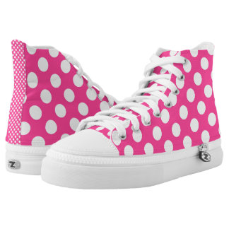 Hot Pink with White Polka Dots Retro High Tops