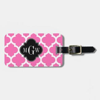 Hot Pink Wt Moroccan #5 Black 3 Initial Monogram Luggage Tag