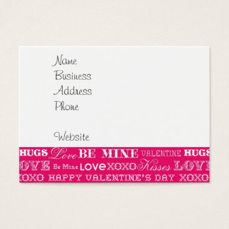 Hot Pink XOXO Love Be Mine Happy Valentine's Day Business Card