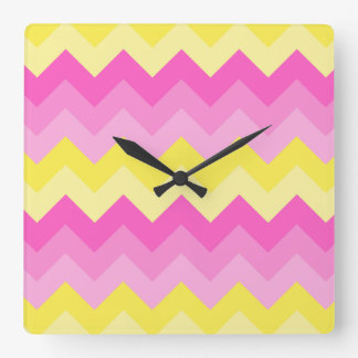 Hot Pink Yellow Chevron Ombre Pattern Print Clock