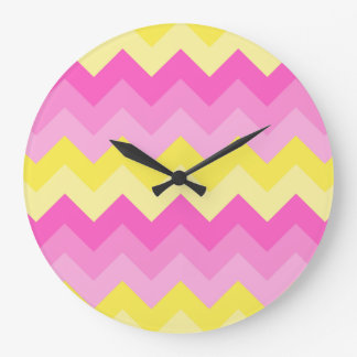 Hot Pink Yellow Chevron Ombre Pattern Print Wallclocks